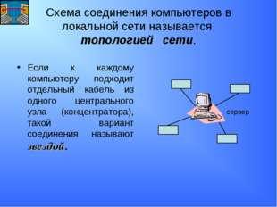 Схема соединения компьютеров в локальной сети называется топологией сети. Есл