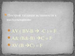 Построй таблицы истинности к высказываниям: АV ( BV-B  -C ) = F A& (B&-B) C