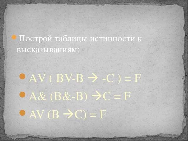 Построй таблицы истинности к высказываниям: АV ( BV-B  -C ) = F A& (B&-B) C...