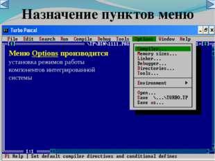 Меню Options производится установка режимов работы компонентов интегрированно