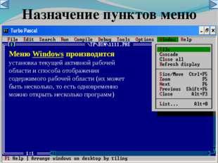 Меню Windows производится установка текущей активной рабочей области и способ