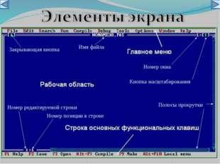 Закрывающая кнопка Имя файла Номер окна Кнопка масштабирования Полосы прокру