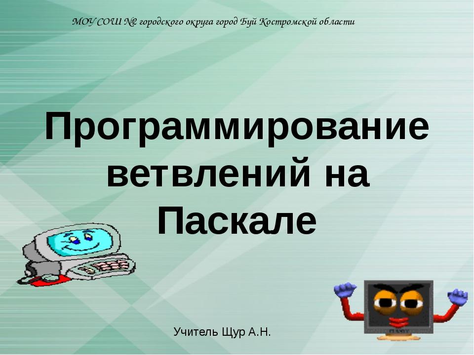 Программирование ветвлений на Паскале МОУ СОШ №2 городского округа город Буй...