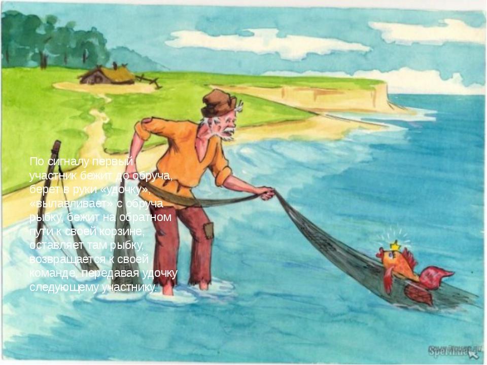 По сигналу первый участник бежит до обруча, берет в руки «удочку», «вылавлив...