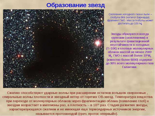 Образование звезд Звезды образуются всегда группами (скоплениями) в результат...