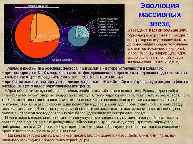Эволюция массивных звезд Сейчас известны два основных фактора, приводящие к п...