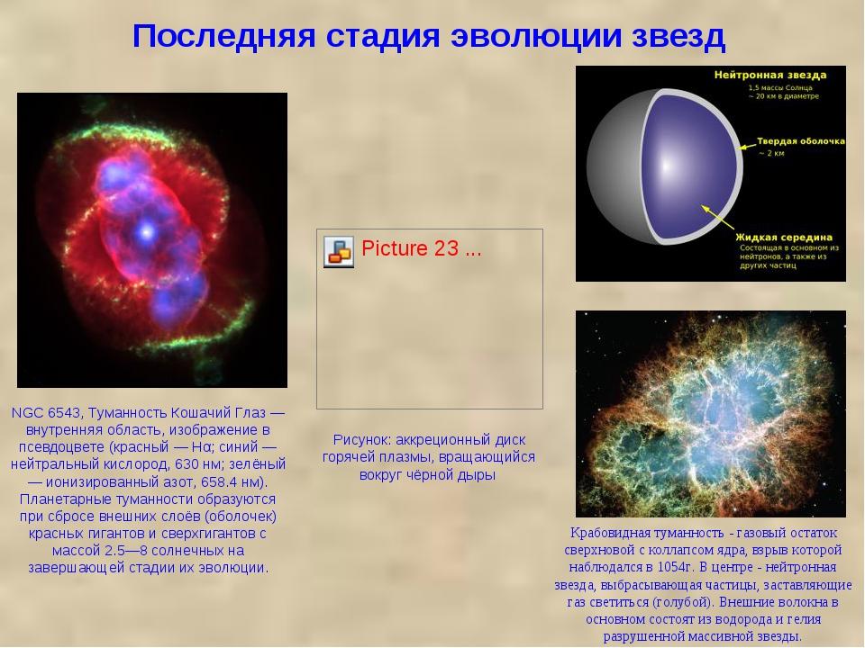 Последняя стадия эволюции звезд Крабовидная туманность - газовый остаток свер...