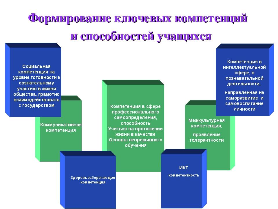 Формирование ключевых компетенций и способностей учащихся Компетенция в сфере...