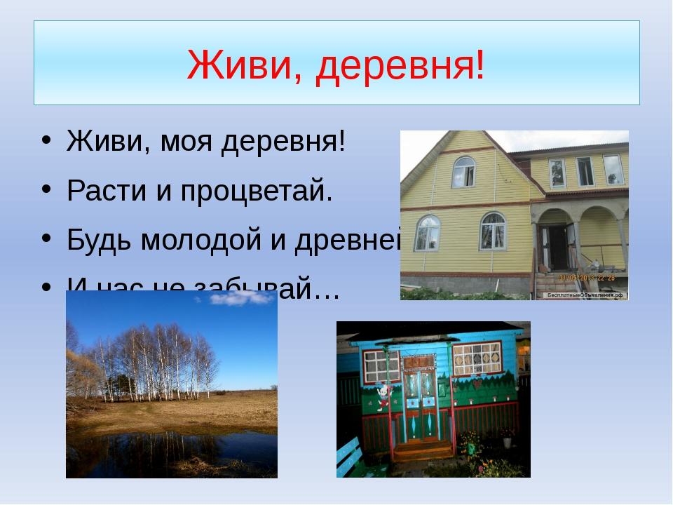 Живи, деревня! Живи, моя деревня! Расти и процветай. Будь молодой и древней,...