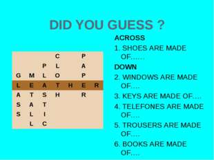 DID YOU GUESS ? ACROSS 1. SHOES ARE MADE OF…… DOWN 2. WINDOWS ARE MADE OF…. 3