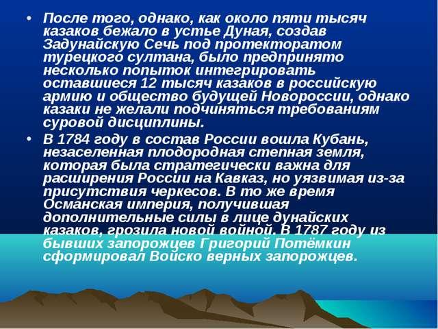 После того, однако, как около пяти тысяч казаков бежало в устье Дуная, создав...