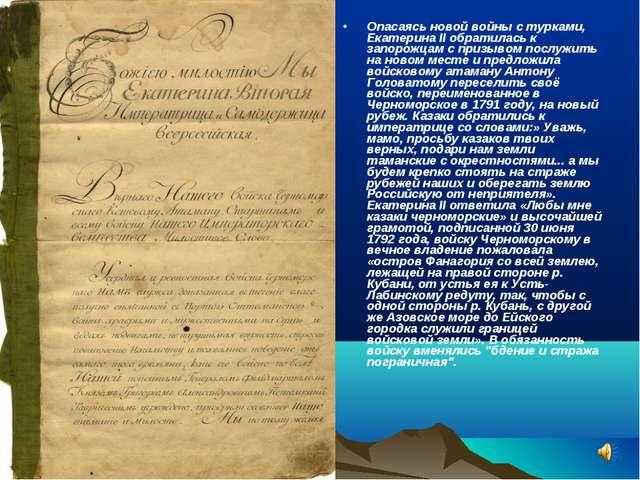 Опасаясь новой войны с турками, Екатерина II обратилась к запорожцам с призыв...