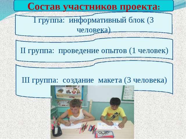 Состав участников проекта: I группа: информативный блок (3 человека) II груп...
