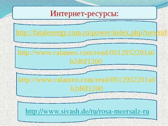Интернет-ресурсы: http://www.calameo.com/read/0012952201a6b2d6f1200 http://ww...