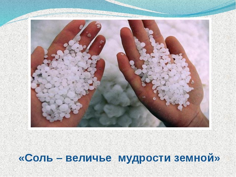 Творческое название: «Соль – величье мудрости земной»