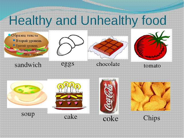 Healthy and Unhealthy food sandwich tomato eggs chocolate cake soup Chips coke