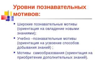 Уровни познавательных мотивов: Широкие познавательные мотивы (ориентация на о