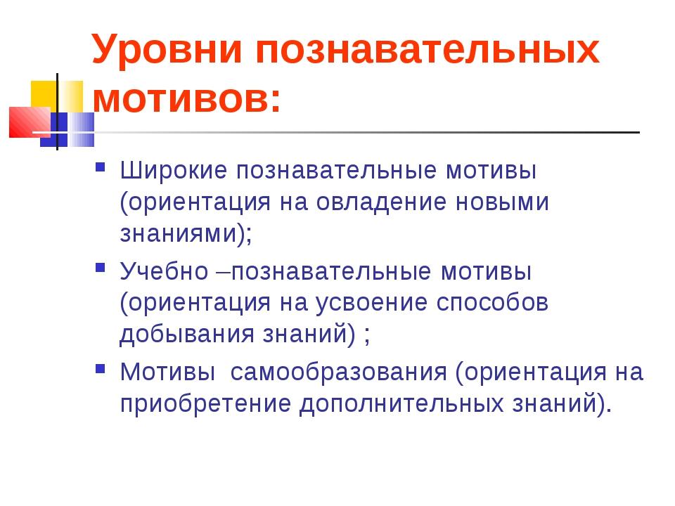 Уровни познавательных мотивов: Широкие познавательные мотивы (ориентация на о...