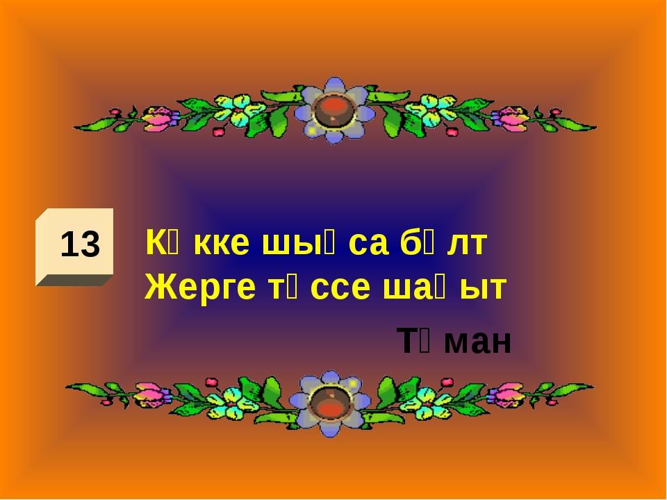 13 Көкке шықса бұлт Жерге түссе шақыт Тұман