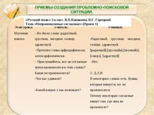 «Русский язык» 3 класс. В.П.Канакина, В.Г. Горецкий Тема «Непроизносимые согл