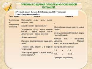«Русский язык» 2класс. В.П.Канакина, В.Г. Горецкий Тема «Разделительный ь» Эт