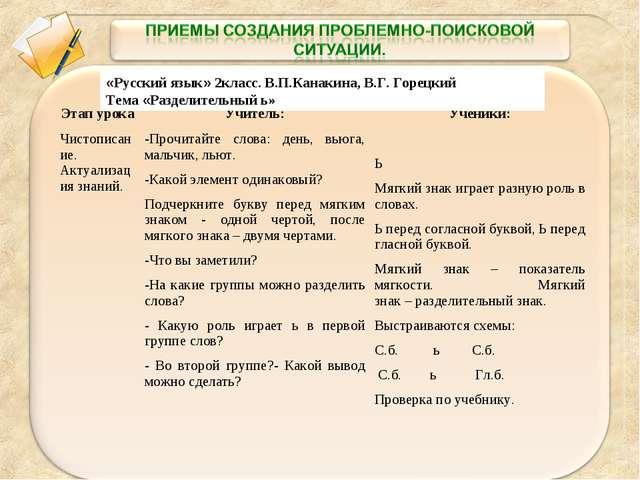 «Русский язык» 2класс. В.П.Канакина, В.Г. Горецкий Тема «Разделительный ь» Эт...