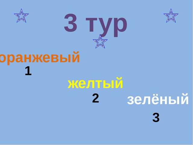желтый оранжевый зелёный 1 2 3 3 тур