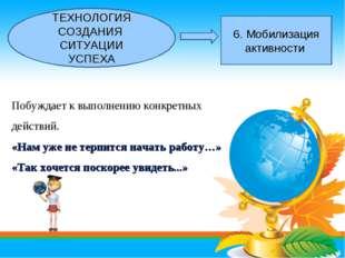 ТЕХНОЛОГИЯ СОЗДАНИЯ СИТУАЦИИ УСПЕХА 6. Мобилизация активности Побуждает к вып