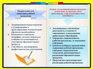 В дошкольном образовании модель рабочей программы должна представлять собой