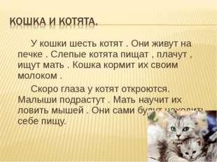 У кошки шесть котят . Они живут на печке . Слепые котята пищат , плачут , ищ