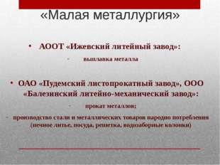 АООТ «Ижевский литейный завод»: выплавка металла ОАО «Пудемский листопрокатн