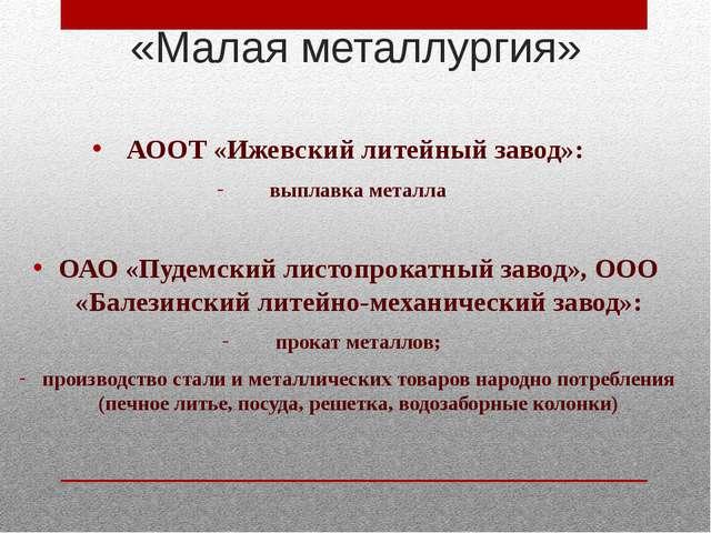 АООТ «Ижевский литейный завод»: выплавка металла ОАО «Пудемский листопрокатн...