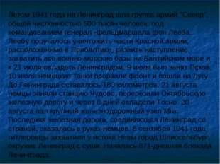 """Летом 1941 года на Ленинград шла группа армий """"Север"""", общей численностью 500"""