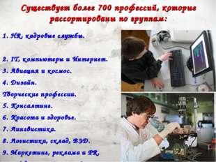 Существует более 700 профессий, которые рассортированы по группам: 1. HR, кад