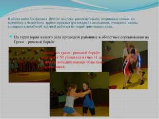 В школе работает филиал ДЮСШ по греко- римской борьбе, спортивные секции по в