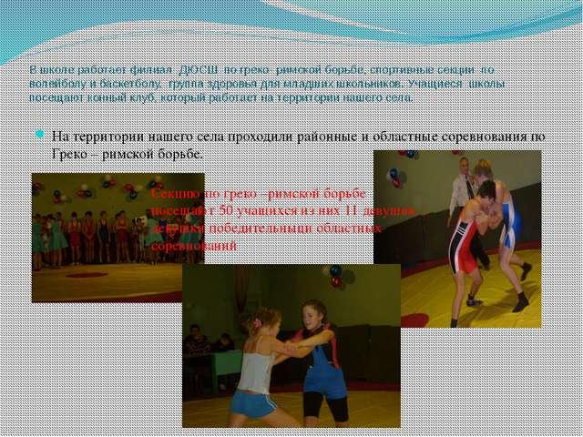 В школе работает филиал ДЮСШ по греко- римской борьбе, спортивные секции по в...