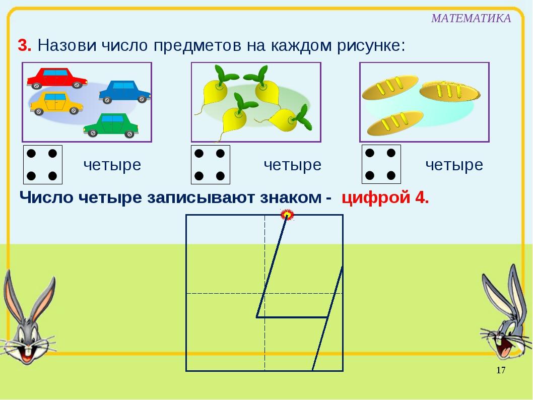 МАТЕМАТИКА 3. Назови число предметов на каждом рисунке: четыре Число четыре з...
