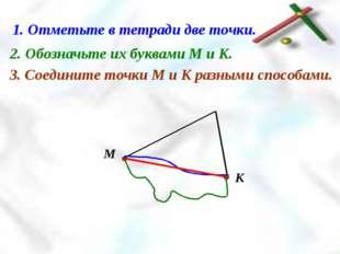 1. Отметьте в тетради две точки. 2. Обозначьте их буквами М и К. 3. Соедините
