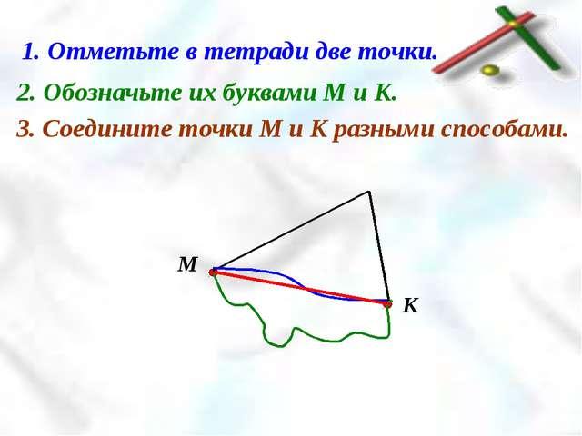 1. Отметьте в тетради две точки. 2. Обозначьте их буквами М и К. 3. Соедините...