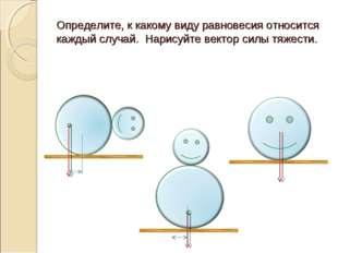 Определите, к какому виду равновесия относится каждый случай. Нарисуйте векто