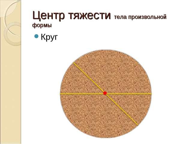 Центр тяжести тела произвольной формы Круг