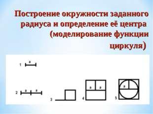 Построение окружности заданного радиуса и определение её центра (моделировани