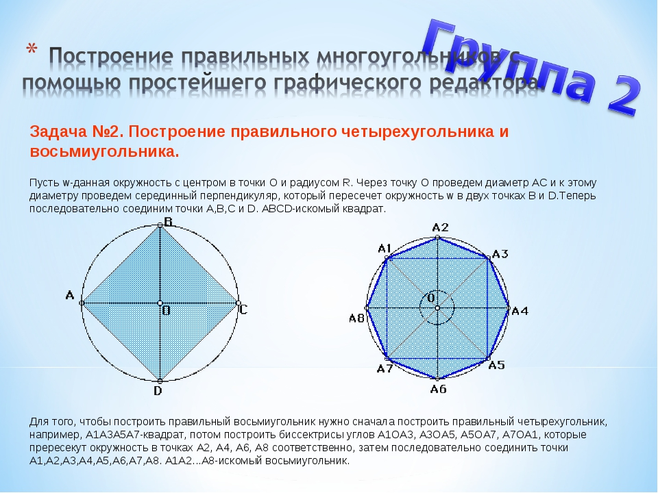 Задача №2. Построение правильного четырехугольника и восьмиугольника. Пусть...