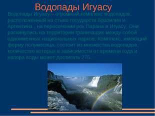 Водопады Игуасу Водопады Игуасу – огромный комплекс водопадов, расположенный