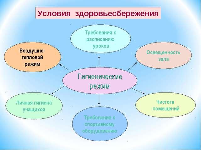 Гигиенические режим Требования к спортивному оборудованию Освещенность зала Т...