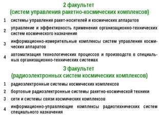 2 факультет (систем управления ракетно-космических комплексов) 1системы упр