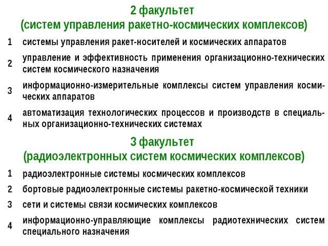 2 факультет (систем управления ракетно-космических комплексов) 1системы упр...