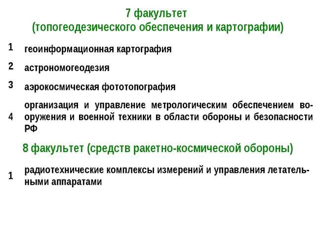 7 факультет (топогеодезического обеспечения и картографии) 1геоинформационн...