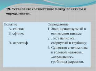 19. Установите соответствие между понятием и определением. Понятие Определени