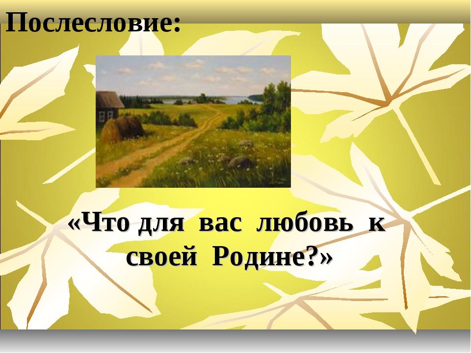 Послесловие: «Что для вас любовь к своей Родине?»